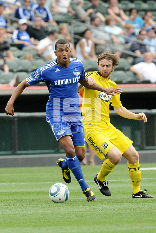 Teal Bunbury (blue), Eddie Gaven...Kansas City Wizards were defeated 1-0 by Columbus Crew at Community America Ballpark, Kansas City, Kansas.