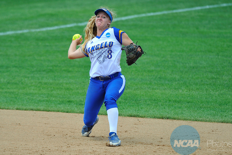 SALEM, VA - MAY 29:  Danae Bina (3) of Angelo State University makes a play against Minnesota State University during the Division II Women's Softball Championship held at Moyer Park on May 29, 2017 in Salem, Virginia. Minnesota State defeated Angelo State 5-1 to win the national championship. (Photo by Andres Alonso/NCAA Photos via Getty Images)