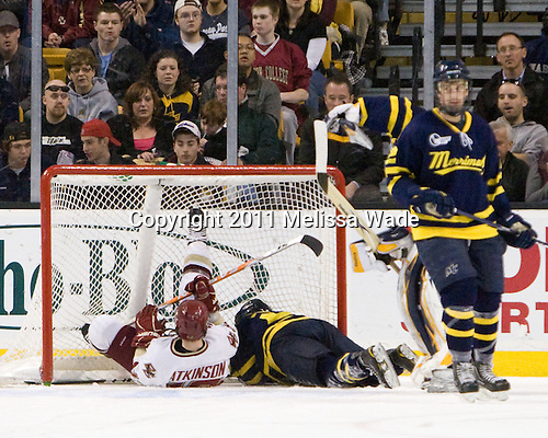 Cam Atkinson (BC - 13), Ryan Flanigan (Merrimack - 20) - The Boston College Eagles defeated the Merrimack College Warriors 5-3 to win the Hockey East championship for the tenth time on Saturday, March 19, 2011, at TD Garden in Boston, Massachusetts.