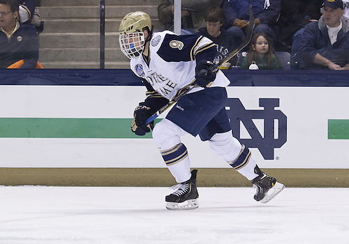 January 18, 2013:  Notre Dame center Anders Lee (9) during NCAA Hockey game action between the Notre Dame Fighting Irish and the Alaska Nanooks at Compton Family Ice Arena in South Bend, Indiana.  Alaska defeated Notre Dame 5-4.