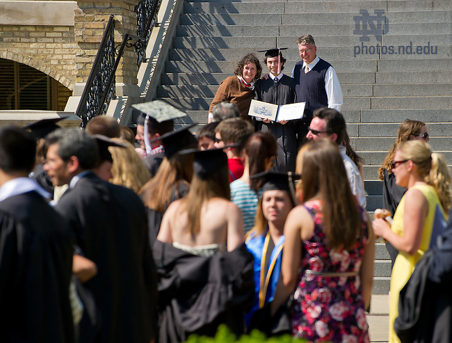 May 20, 2012; Graduates pose for photos on the Main Building steps, Commencement 2012...Photo by Matt Cashore/University of Notre Dame