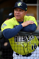 Manager Pedro Lopez (16) of the Columbia Fireflies during a game against the Charleston RiverDogs on Thursday, April 4, 2019, at Segra Park in Columbia, South Carolina. Charleston won, 2-1. (Tom Priddy/Four Seam Images)