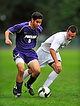 13 September 2009: University of Portland Pilots' defenseman/midfielder Keith Grubisich, a Freshman from San Jose, CA, battles University of New Hampshire Wildcat midfielder Josh Bronner, a Sophomore from Belchertown, MA, in the second round of the 2009 Morgan Stanley Smith Barney Soccer Classic held at Centennial Field in Burlington, Vermont. The Pilots defeated the Wildcats 1-0 and inso doing were the Tournament Champions for 2009. Mandatory Photo Credit: Ed Wolfstein Photo