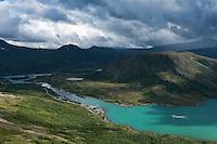 View towards Gjendesheim and lake Gjende, Jotunheimen national park, Norway