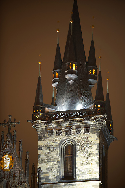 Church Of Out Lady Before Tyn at night - Prague - Czech Republic