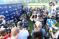 July 27, 2018: New England Patriots head coach Bill Belichick is surrounded by media at his morning press conference at the New England Patriots training camp held on the practice fields at Gillette Stadium, in Foxborough, Massachusetts. Eric Canha/CSM