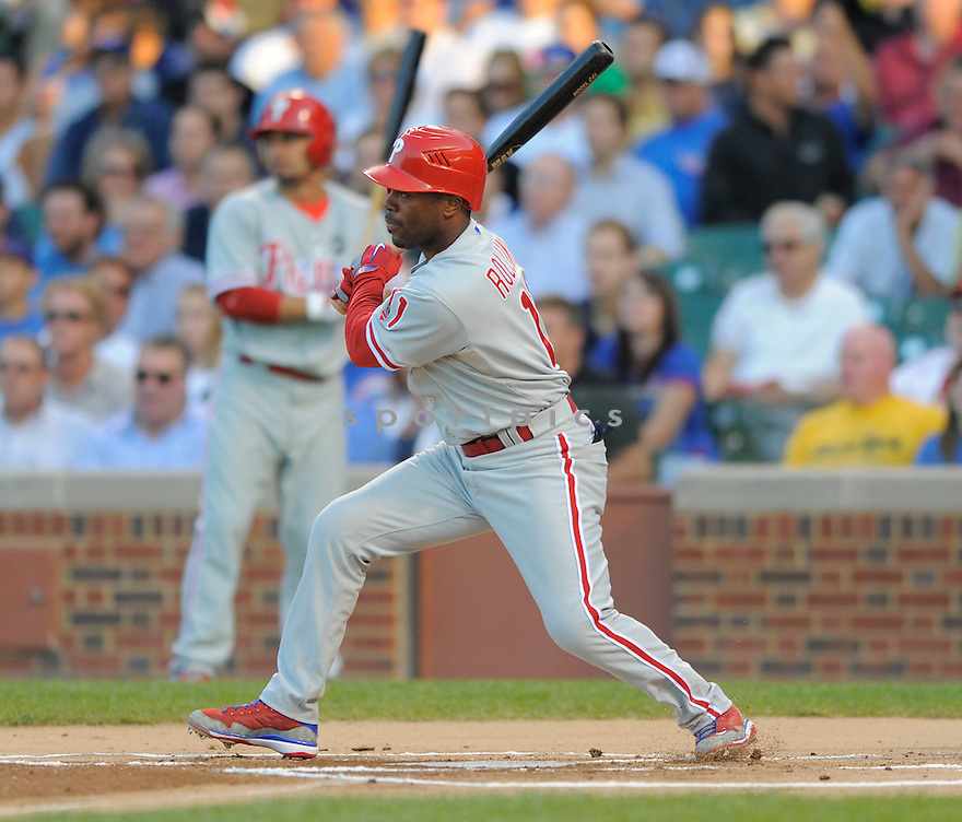 JIMMY ROLLINS,  of the Philadelphia Phillies in action during the Phillies game against the Chicago Cubs.  The  Phillies beat the Cubs 12-5 in Chicago, Illinois on August 12, 2009...David Durochik