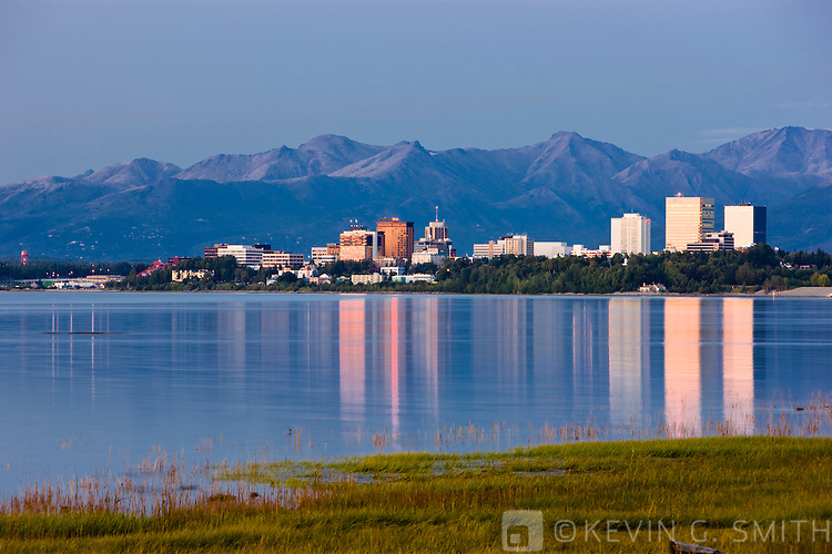 The Anchorage Skyline just after sunset, taken from the Tony Knowles Coastal Trail, late summer, Anchorage, Southcentral Alaska, USA.