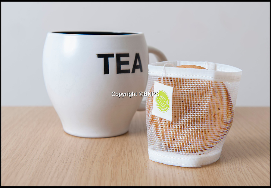 BNPS.co.uk (01202 558833)<br /> Pic: PhilYeomans/BNPS<br /> <br /> Finally...An end to the Tea-break terror...<br /> <br /> Back of the net...<br /> <br /> Tea drinkers are rejoicing after a nifty device designed to catch crumbs left by dunking biscuits in your brew hit the shelves.<br /> <br /> Dad of two Andrew Tinsley solved the age-old problem with a canny mesh pouch which sits inside a mug of tea collecting any unwanted biscuit bits that might float off during dunking.<br /> <br /> And should your Digestive or Rich Tea become too soggy and break off altogether this cheap and cheerful gadget will guarantee drinkers are not left with a heap of biscuity sludge at the bottom of their cup.<br /> <br /> Entrepreneur Andrew, 49, dreamed up the product, called the Cookie Catcher, after watching family members lose their sodden biscuits in their tea after dunking them for too long during Christmas celebrations last year.
