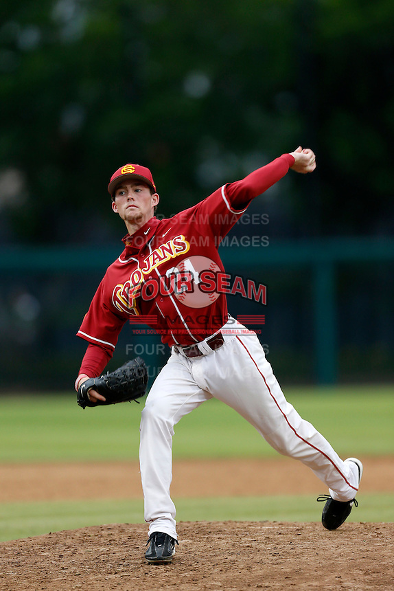 Kyle Twomey #24 of the USC Trojans during a inter squad game at Dedeaux Field on November 16, 2012 in Los Angeles, California. (Larry Goren/Four Seam Images)
