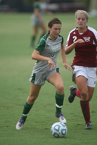 Denton, TX - SEPTEMBER 30: Leah Cox #8 of the North Texas Mean Green soccer at the Mean Green Village Soccer Field University in Denton on September 30, 2012 in Denton, Texas. (Photo by Rick Yeatts Photography/Michael Stephens)