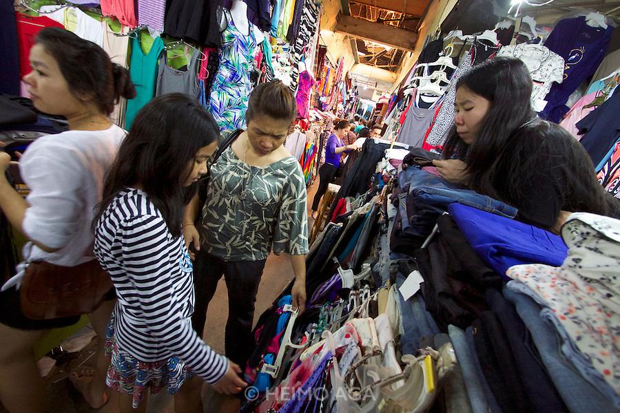 Phnom Penh, Cambodia. Russian Market, famous for clothes.