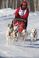 Musher Lynn Orbison, 2007 Limited North American Championship Sled dog race in Fairbanks, Alaska.