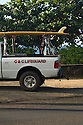 Lifeguard truck with Surfboard on the North Shore in Hawaii