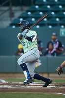 Seuly Matias (25) of the Wilmington Blue Rocks hits a solo home run in the top of the first inning against the Winston-Salem Dash at BB&T Ballpark on April 15, 2019 in Winston-Salem, North Carolina. The Dash defeated the Blue Rocks 9-8. (Brian Westerholt/Four Seam Images)