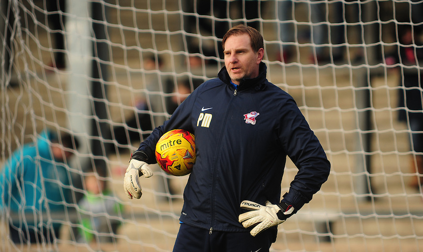 Scunthorpe United goalkeeping coach Paul Musselwhite during the pre-match warm-up <br /> <br /> Photographer Chris Vaughan/CameraSport<br /> <br /> Football - The Football League Sky Bet League One - Scunthorpe United v Swindon Town - Saturday 14th February 2015 - Glanford Park - Scunthorpe<br /> <br /> &copy; CameraSport - 43 Linden Ave. Countesthorpe. Leicester. England. LE8 5PG - Tel: +44 (0) 116 277 4147 - admin@camerasport.com - www.camerasport.com