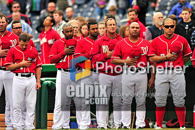 24 April 2010: Members of the Washington Nationals stand at attention during the singing of the national anthem prior to a game against the Los Angeles Dodgers at Nationals Park in Washington, DC. The Dodgers edged out the Nationals 4-3 in a thirteen inning game. Mandatory Credit: Ed Wolfstein Photo