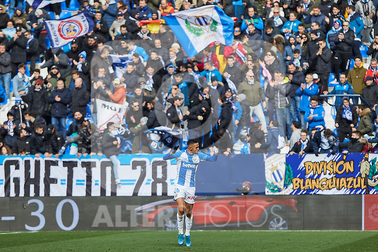 Youssef En-Nesyri of CD Leganes celebrates goal during La Liga match between CD Leganes and RCD Espanyol at Butarque Stadium in Leganes, Spain. December 22, 2019. (ALTERPHOTOS/A. Perez Meca)