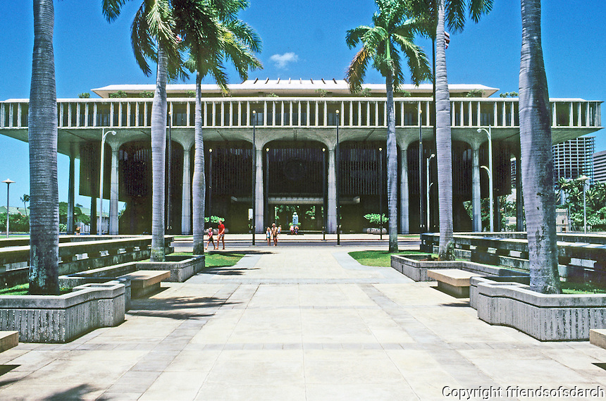 Honolulu: Hawaii State Capitol, elevation from North. Designed by Belt, Lemmon & Lo. & John Carl Warnecke & Assoc., 1968. Photo '82.