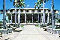 Honolulu: Hawaii State Capitol, elevation from North. Designed by Belt, Lemmon & Lo. & John Carl Warnecke & Assoc., 1968. Photo '82.