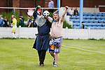 Ragnar the Viking, Yorkshire's mascot and friend celebrate at full time. Yorkshire v Parishes of Jersey, CONIFA Heritage Cup, Ingfield Stadium, Ossett. Yorkshire's first competitive game. The Yorkshire International Football Association was formed in 2017 and accepted by CONIFA in 2018. Their first competative fixture saw them host Parishes of Jersey in the Heritage Cup at Ingfield stadium in Ossett. Yorkshire won 1-0 with a 93 minute goal in front of 521 people.
