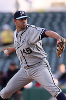 April 27, 2009:  Matt Buschmann of the Portland Beavers, Pacific Cost League Triple A affiliate of the San Diego Padres, during a game at the Spring Mobile Ballpark in Salt Lake City, UT.  Photo by:  Matthew Sauk/Four Seam Images