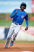 South Bend Cubs center fielder Chris Singleton (3) runs the bases during the first game of a doubleheader against the Lake County Captains on May 16, 2018 at Classic Park in Eastlake, Ohio.  South Bend defeated Lake County 6-4 in twelve innings.  (Mike Janes/Four Seam Images)