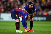 2nd February 2019, Camp Nou, Barcelona, Spain; La Liga football, Barcelona versus Valencia; Lionel Messi of FC Barcelona and Luis Suarez of FC Barcelona discuss a direct free kick