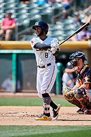 Alberto Triunfel (8) of the Salt Lake Bees bats against the Fresno Grizzlies at Smith's Ballpark on September 3, 2018 in Salt Lake City, Utah. The Grizzlies defeated the Bees 7-6. (Stephen Smith/Four Seam Images)