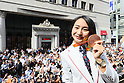 Sae Tsuji (JPN), <br /> OCTOBER 7, 2016 :<br /> Japanese medalists of Rio 2016 Olympic and Paralympic Games wave to spectators during a parade from Ginza to Nihonbashi, Tokyo, Japan.<br /> (Photo by Yohei Osada/AFLO SPORT)