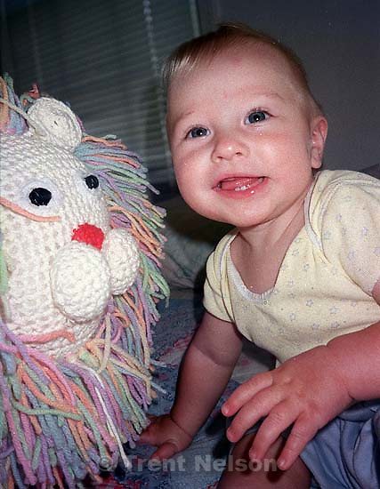 Noah Nelson with lion Madeline made. This film went through the laundry<br />