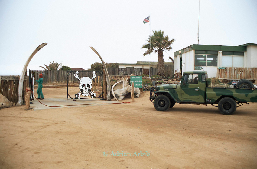 The entry gate to the Skeleton Coast national park  Namib Naukluft  desert, Namibia