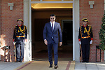 The President of the Government of Spain, Pedro Sanchez, receives in La Moncloa Palace the President of the French Republic Emmanuel Macron. July 27,2018. (ALTERPHOTOS/Acero)