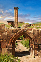 Medieval Gothic Door Arch infront of The Seljuk Turk Mosque of Ebul Minuchihr (Minuchir) built in 1072, Ani archaelogical site on the ancient Silk Road  , Kars , Anatolia, Turkey