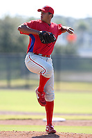 Philadelphia Phillies minor league pitcher Mario Hollands vs. the Toronto Blue Jays in an Instructional League game at the Carpenter Complex in Clearwater, Florida;  October 9, 2010.  Photo By Mike Janes/Four Seam Images