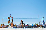 GULF SHORES, AL - MAY 07:  Maddy Roh (10) of Pepperdine spikes the ball past Kelly Claes (3) during the Division I Women's Beach Volleyball Championship held at Gulf Place on May 7, 2017 in Gulf Shores, Alabama.The University of Southern California defeated Pepperdine 3-2 to claim the national championship. (Photo by Stephen Nowland/NCAA Photos via Getty Images)