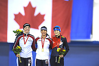 SPEEDSKATING: CALGARY: 15-11-2015, Olympic Oval, ISU World Cup, Podium 1500m Ladies, Heather Richardson (USA), Brittany Bowe (USA), Martina Sábliková (CZE), ©foto Martin de Jong
