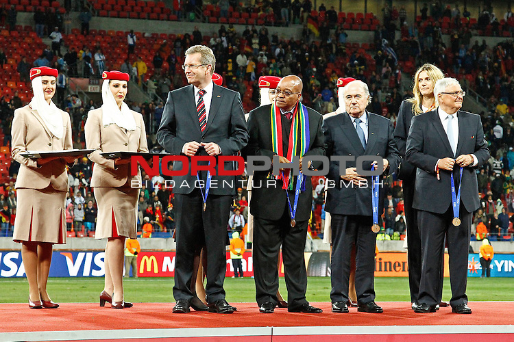 President Zuma and S Blatter during the FIFA World Cup 2010 3rd Place Play off match between Uruguay and Germany held at The Nelson Mandela Bay Stadium  in Port Elizabeth, South Africa on the 10 July 2010<br /> <br /> <br />  <br /> <br /> Foto &copy;  nph /  Kokenge