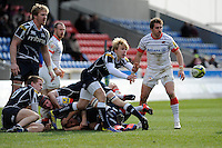 20130310 Copyright onEdition 2013©.Free for editorial use image, please credit: onEdition..Replacement scrum half Nathan Fowles of Sale Sharks passes during the LV= Cup semi final match between Sale Sharks and Saracens at the Salford City Stadium on Sunday 10th March 2013 (Photo by Rob Munro)..For press contacts contact: Sam Feasey at brandRapport on M: +44 (0)7717 757114 E: SFeasey@brand-rapport.com..If you require a higher resolution image or you have any other onEdition photographic enquiries, please contact onEdition on 0845 900 2 900 or email info@onEdition.com.This image is copyright onEdition 2013©..This image has been supplied by onEdition and must be credited onEdition. The author is asserting his full Moral rights in relation to the publication of this image. Rights for onward transmission of any image or file is not granted or implied. Changing or deleting Copyright information is illegal as specified in the Copyright, Design and Patents Act 1988. If you are in any way unsure of your right to publish this image please contact onEdition on 0845 900 2 900 or email info@onEdition.com