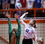 November 22, 2019; Rapid City, SD, USA; Sydney Tims #13 of Sioux Falls Christian attempts a kill against Miller at the 2019 South Dakota State Volleyball Championships at the Rushmore Plaza Civic Center in Rapid City, S.D. (Richard Carlson/Inertia)