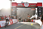 Green Jersey holder Caleb Ewan (AUS) Lotto-Soudal outsprints Irish Champion Sam Bennett (IRL) Deceuninck-Quick Step to win Stage 2 the Dubai Municipality Stage of the UAE Tour 2020 running 168km from Hatta to Hatta Dam, Dubai. 24th February 2020.<br /> Picture: LaPresse/Massimo Paolone | Cyclefile<br /> <br /> All photos usage must carry mandatory copyright credit (© Cyclefile | LaPresse/Massimo Paolone)