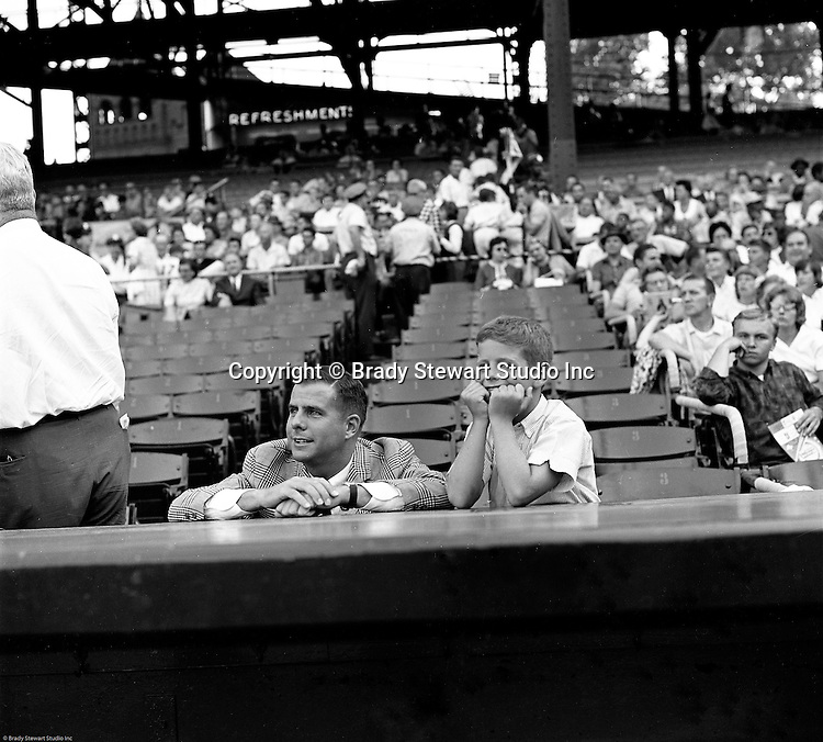 Oakland Section of Pittsburgh:  Fans watching the annual HYPO baseball game at historic Forbes Field in Pittsburgh - 1964. The money raised by HYPO (Help Young Players Organize) was used to help local communities buy equipment and build ball fields.  Forbes Field was a baseball park in the Oakland neighborhood of Pittsburgh, from 1909 to 1971. It was the third home of the Pittsburgh Pirates, and the first home of the Pittsburgh Steelers, the city's National Football League franchise. The stadium also served as the home football field for the University of Pittsburgh Panthers from 1909 to 1924. The stadium was named after British general John Forbes who fought in the French and Indian War, and named the city in 1758.