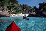 Thailand, kayaking to the perfect beach, Similan Islands, Andaman Sea, Indian Ocean, Susan Johnston, model released.