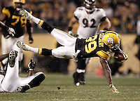 PITTSBURGH, PA - NOVEMBER 06:  Jerricho Cotchery #89 of the Pittsburgh Steelers dives after catching a pass against the Baltimore Ravens during the game on November 6, 2011 at Heinz Field in Pittsburgh, Pennsylvania.  (Photo by Jared Wickerham/Getty Images)