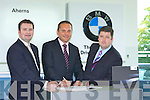 Sean Green, MD BMW Ireland, (centre) pictured at Aherns Castleisland recently signing up new contracts with Paul and Pat Ahern. Mr Green visited Aherns to outline BMW Ireland's ambitious plans for the next 5 years and wanted to formally thank all at Aherns for their outstanding contribution to BMW sales and service since their opening in 2006. Aherns are again the top BMW dealer in the country this year for Customer Satisfaction in both Sales & Aftersales. Copyright Kerry's Eye 2008