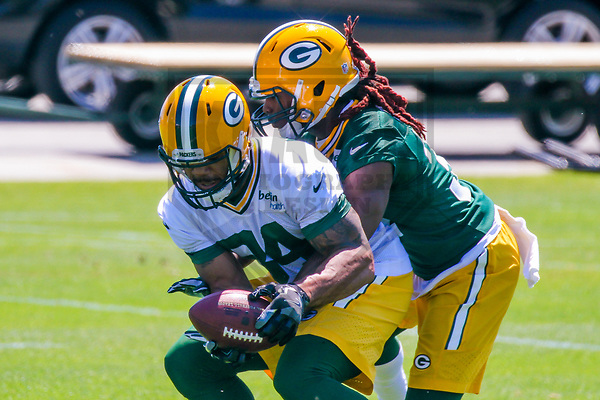 Green Bay Packers tight end Lance Kendricks (84) and safety Aaron Taylor (37) during an OTA on June 1, 2017 at Clark Hinkle Field in Green Bay, Wisconsin. (Brad Krause/Krause Sports Photography)