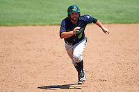 Vermont Lake Monsters second baseman Nate Mondou (6) running the bases during a game against the Auburn Doubledays on July 13, 2016 at Falcon Park in Auburn, New York.  Auburn defeated Vermont 8-4.  (Mike Janes/Four Seam Images)