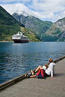 Hurtigruten coastal ferry in Geirangerfjord, Geiranger, Norway