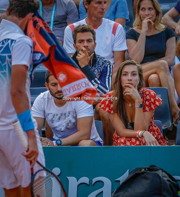 Paris, France, 27 May, 2018, Tennis, French Open, Roland Garros, Kim de Valk girlfriend of Robin Haase<br /> Photo: Henk Koster/tennisimages.com