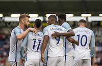 Celebrations as Marcus Rashford (Manchester United) of England scores to make it 1 0 during the International EURO U21 QUALIFYING - GROUP 9 match between England U21 and Norway U21 at the Weston Homes Community Stadium, Colchester, England on 6 September 2016. Photo by Andy Rowland / PRiME Media Images.